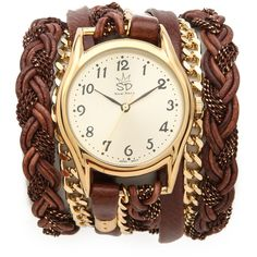 Sara Designs Leather Braid Chain Wrap Watch ($231) ❤ liked on Polyvore featuring jewelry, watches, bracelets, accessories, relogios, water resistant watches, sara designs, woven jewelry, braid jewelry and braided wrap watch