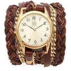 Sara Designs Leather Braid Chain Wrap Watch found on Polyvore