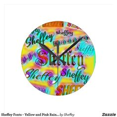 Sheffey Fonts - Yellow and Pink Rainbow - 9642 Round Wall Clock
