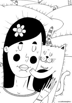 Girl and cat sleeping ink on paper illustration on Behance Paper Illustration, Illustrations, Cat Sleeping, Art Direction, Art Drawings, Minnie Mouse, Disney Characters, Fictional Characters, Snoopy