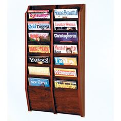 Wooden Mallet Fourteen Pocket Wall Mount Magazine Rack Id like my magazines on a wall maybe a single one of these :)