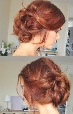 Cute messy bun with red hair