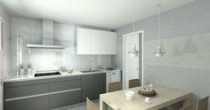 Cocina modelo Line Laminado Seda Blanco y Estratificado Gris. Encimera Silestone Blanco. Las líneas horizontales en tonos grisáceos y blancos le dan un carácter distintivo.