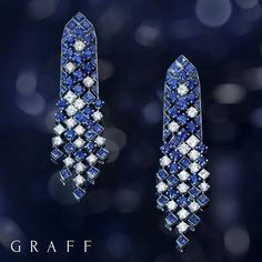 @graffdiamonds. Nature's geometry:  This exquisite pair of sapphire and diamond Snowfall earrings are a fine example of true precision and elegance. #GraffDiamonds #Baselworld2017