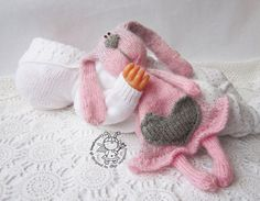 Toy for sleep. Pink Bunny for small babies- knitting pattern (knitted round. Amigurumi Bunny