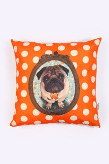 Pug Cushion Cover - must get personalized with tobias