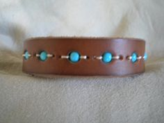 Girls brown leather cuff bracelet with beads by JimbosTexasVintage, $12.00