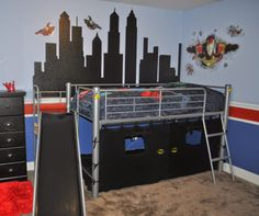 Toddler Boys Superhero Bedroom Ideas superhero bunk bed with latched rail, desk, steps and slide
