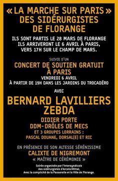 """"""" La Marche sur Paris """" Des Sidérurgistes de Florange : Concert de soutien gratuit"""