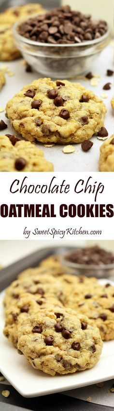 Chocolate Chip Oatmeal Cookies-chewy cookies with oatmeal, chocolate chips and walnuts.They simply swept me off my feet when I tried them for the first time