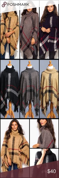 """Turtleneck Poncho In 3 Colors Warm and fuzzy turtleneck poncho. Features large plaid design with fringe detail. Perfect for a stylish fall or winter outfit. Unlined, one size. 100% acrylic. Model is 5' 9"""" bust 34"""". Comes in 3 colors, black, gray and camel Sweaters Shrugs & Ponchos"""