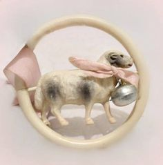 antique Edwardian celluloid 'lamb and bell' baby rattle