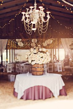 chandelier & fairy lights in barn - Florida ranch wedding decor Chic Wedding, Perfect Wedding, Fall Wedding, Our Wedding, Dream Wedding, Wedding Table, Wedding Country, Wedding Stuff, Wedding App