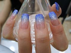 Opting for bright colours or intricate nail art isn't a must anymore. This year, nude nail designs are becoming a trend. Here are some nude nail designs. Blue And Silver Nails, Blue Ombre Nails, Gradient Nails, Blue Glitter Nails, Sparkly Nails, Fancy Nails, Pretty Nails, Homecoming Nails, Prom Nails