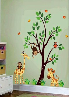 [ Com With Children Jungle Wall Sticker Set Stickers Decal Safari Colour Scheme Choose Option Standard Colours ] - Best Free Home Design Idea & Inspiration Baby Bedroom, Baby Boy Rooms, Baby Room Decor, Baby Boy Nurseries, Kids Bedroom, Kids Wall Decals, Nursery Wall Decals, Nursery Room, Wall Murals