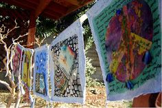 Mouse House ART: Creative Intentions (Making prayer flags in the pines)
