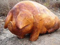 Wood Carved wood sculpture by artist Nigel Sardeson titled: 'Fat Pig' #sculpture #art