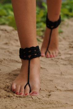 Black Anklet Crochet Barefoot Sandals, Nude shoes, Foot jewelry, Wedding, Victorian Lace, Sexy, Yoga, Anklet , Bellydance, Steampunk, Beach Pool