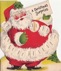 Vintage Greeting Cards Christmas Images Art Clipart Santas Money Holders Png Holiday Time
