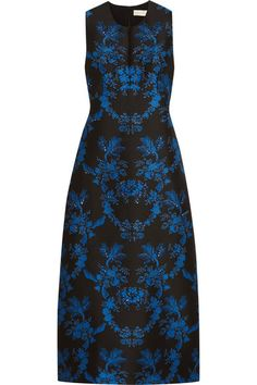 Black and blue jacquard Concealed hook and zip fastening at back  100% polyester; lining: 100% silk  Dry clean Made in Italy