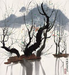Aging trees in a lake, Chinese ink painting by Wu Guanzhong Asian Landscape, Chinese Landscape Painting, Chinese Painting, Landscape Art, Landscape Paintings, Ink Paintings, Japan Painting, Sumi E Painting, Art Zen