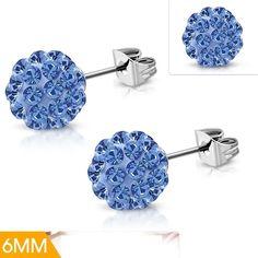 Stainless Steel Argil Ball Shamballa Stud Earrings With Blue Sapphire CZ Pair Steel Jewelry, Blue Sapphire, Mystic, Stud Earrings, Stainless Steel, Pairs, Earrings, Ear Gauge Plugs, Stud Earring