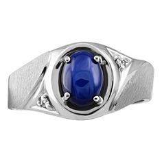 Mens silver 0.05 ctw diamond and blue star sapphire ring. RIN-SIL-0260