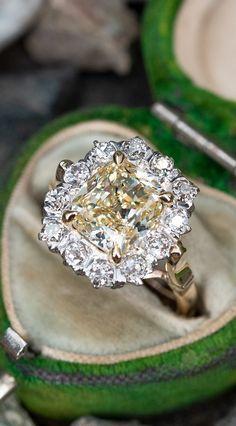 Fancy 3 Carat Vintage Diamond Ring 3.36ct VS1 GIA Sku REM18772 Vintage Diamond Rings, Vintage Engagement Rings, Vintage Rings, Diamond Engagement Rings, 3 Carat, European Cut Diamonds, Timeless Fashion, Diamond Cuts, Fancy