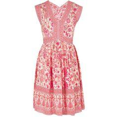 REBECCA TAYLOR V Neck Dreamweaver Dress (675 CAD) ❤ liked on Polyvore featuring dresses, powder pink, red v neck dress, boho dresses, red dress, bohemian style dresses and pink v neck dress