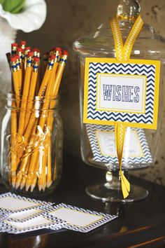 Chic Navy & Yellow Chevron Graduation Party // Hostess with the Mostess