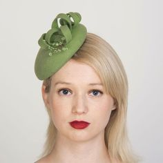 Buy designer UK made fascinators, fascinator hats and hatinators in colours to suit all outfits. Pillbox Fascinators, Wedding Fascinators, Fascinator Hairstyles, Green Fascinator, How To Make Fascinators, Pill Boxes, Felt Hat, Color Swatches, Shades Of Green