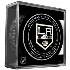 2017 NHL Los Angeles Kings - 50th Anniversary Official Game Puck with Case