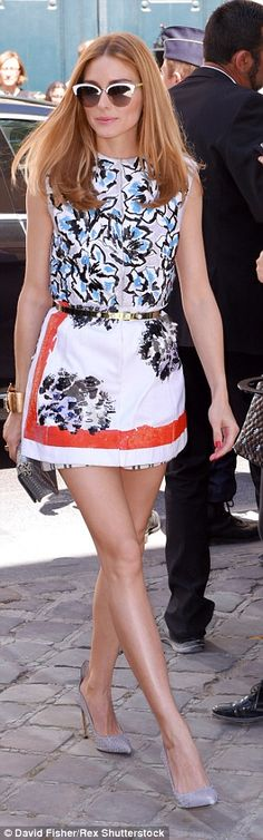 Super chic: The style icon looked gorgeous in her mini dress paired with heels and a pair ...