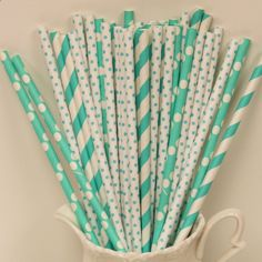 Paper Straws, BIRD EGG BLUE Striped Paper Straws with Diy Flags, Garden Tea Parties, Party Straws, Mothers Day, Wedding Drinks. $5.00, via Etsy.