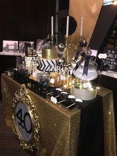 Black, white and gold candy buffet with a glamorous fondant cake brushed with edible gold shimmer. mirrors, bling, satin, all with an art deco feel. 40th Bday Ideas, Moms 50th Birthday, 50th Party, 40th Birthday Parties, Birthday Ideas, Great Gatsby Party, Gatsby Theme, 50th Wedding Anniversary, Anniversary Parties