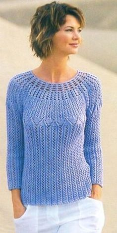 Size: You will need: г blue Jazz yarn cotton, poliacril, 125 Straight and circular knitting needles no. Crochet no. Crochet Cardigan, Knit Crochet, Crochet Woman, Lace Knitting, Crochet Clothes, Clothing Patterns, Fall Outfits, Knitwear, Sweaters For Women