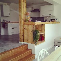 #wooden #kitchen #upcycled #handmade #oak Split Level Kitchen Dining Room. Part 44