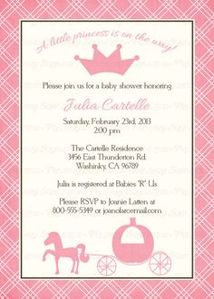 princess baby shower invitations Digital by freshlysqueezedcards  freshlysqueezedcards.etsy.com