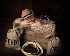 Country Western    Burlap Feed sacks & Lasso    Photo Prop, Photography prop, Cowboy,Farm,Country,Western on Etsy, $32.00