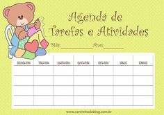 Agenda de Tarefas e Atividades grátis para baixar e imprimir - Cantinho do blog