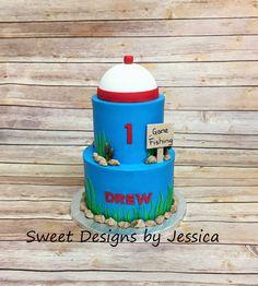 Fishing themed 1st bday cake