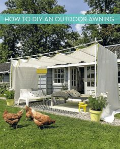 Make It: DIY Outdoor Awning » Curbly | DIY Design Community. Instructions are in Dutch so no comprende but it looks very cool!
