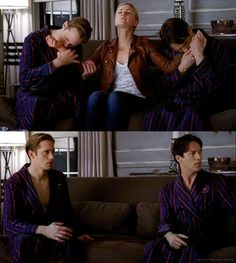 Eric and Bill healing themselves by drinking Sookie's fairy blood. True Blood Season 4.