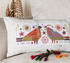 Lovebirds panel made into cushion 50 cm x 30 cm