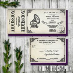 Vintage Gramophone Wedding Ticket Invitation and RSVP, Steampunk Wedding…