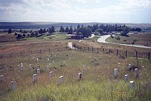 Little Bighorn Battlefield National Monument preserves the site of the June 25, 1876, Battle of the Little Bighorn, near Crow Agency, Montana, in the United States. It also serves as a memorial to those who fought in the battle: George Armstrong Custer's 7th Cavalry and a combined Lakota-Northern Cheyenne and Arapaho force.