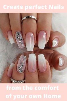Ombre Nail Designs, Cool Nail Designs, Ombre Nail Art, Sparkle Nail Designs, Fancy Nails Designs, New Years Nail Designs, How To Ombre Nails, Acrylic Ombre Nails, Nail Crystal Designs