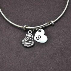 Buddha Bangle, Sterling Silver Bangle, Buddha Bracelet, Expandable Bangle, Personalized Bracelet, Charm Bangle, Initial Bracelet, Monogram by BangleLand on Etsy