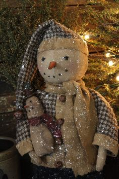 Primitive Christmas Mr Jingles Snowman Doll by rockriverstitches