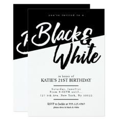 Black and white party names black and white 2 theme party bachelor party invitations modern style black and white party invitations stopboris Image collections